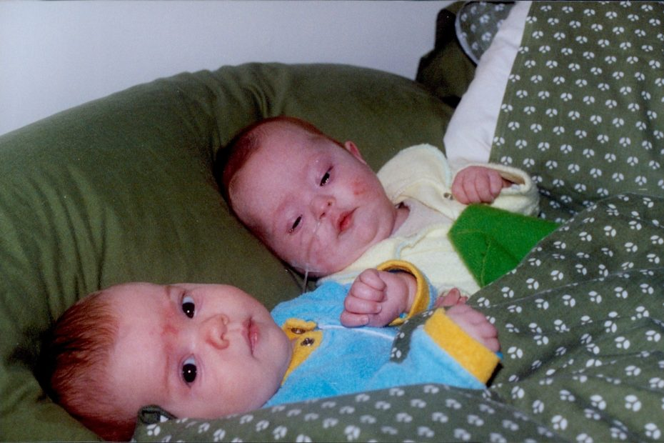 Clare and Aisling as babies