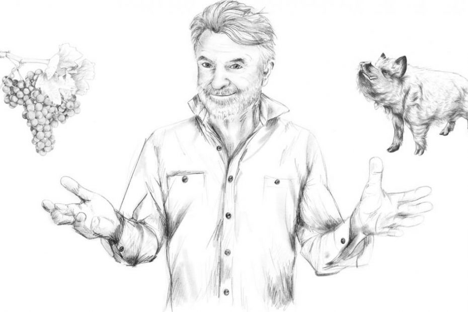 A drawing of Sam Neill