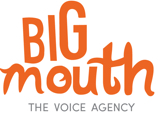 In big orange letters, the word: Big Mouth, the voice agency